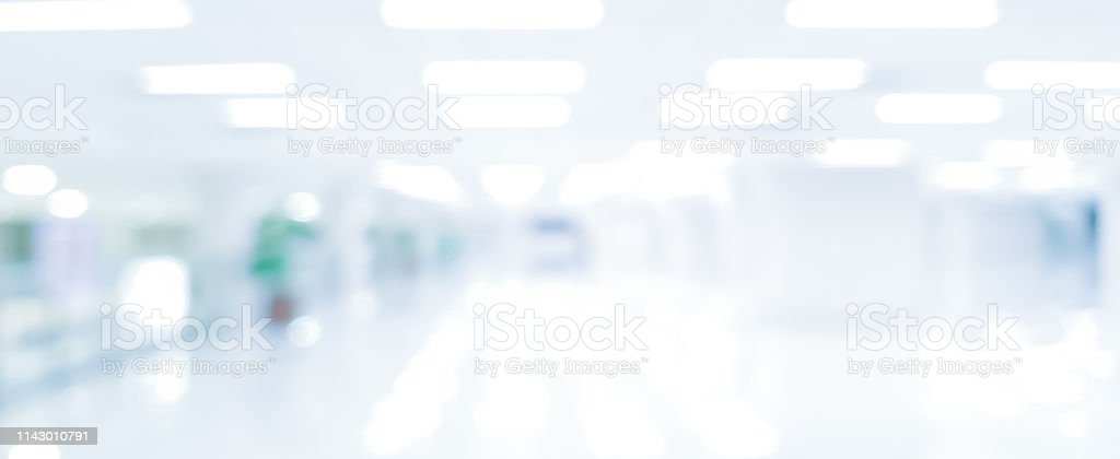 abstract blurred modern interior of office hospital in panoramic...