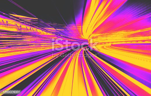 Abstract blurred motion tunnel in blue tinted black and white synth wave style