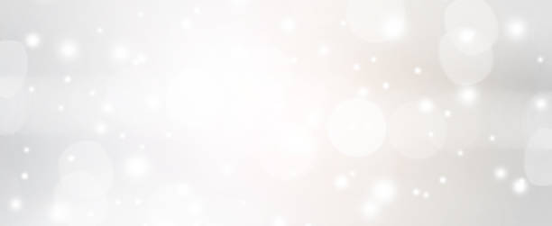 abstract blurred of silver color with bokeh and glitter snow fall background for design concept. - snowflake background stock pictures, royalty-free photos & images