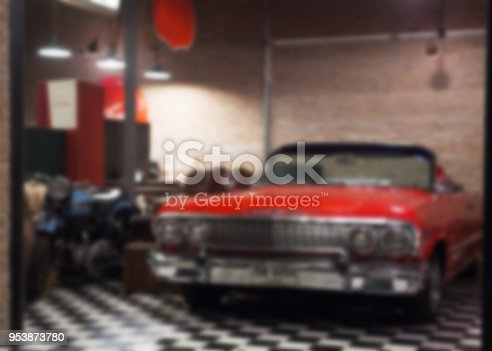 Abstract blurred of vintage car in Garage as Collection. vintage tone