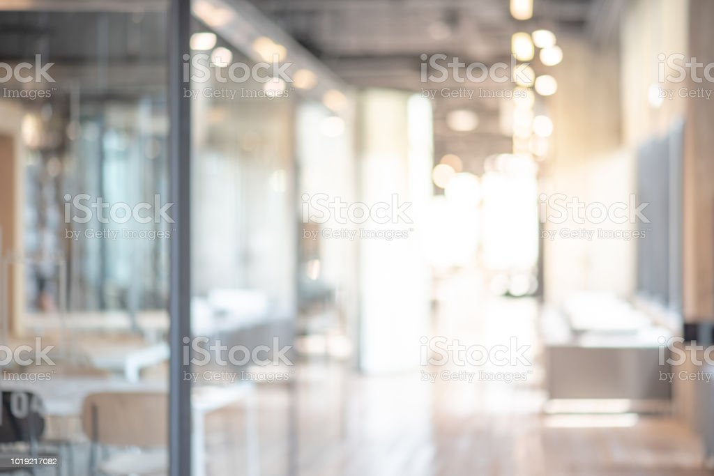 Abstract blurred office interior room. blurry working space with defocused effect. use for background or backdrop in business concept stock photo