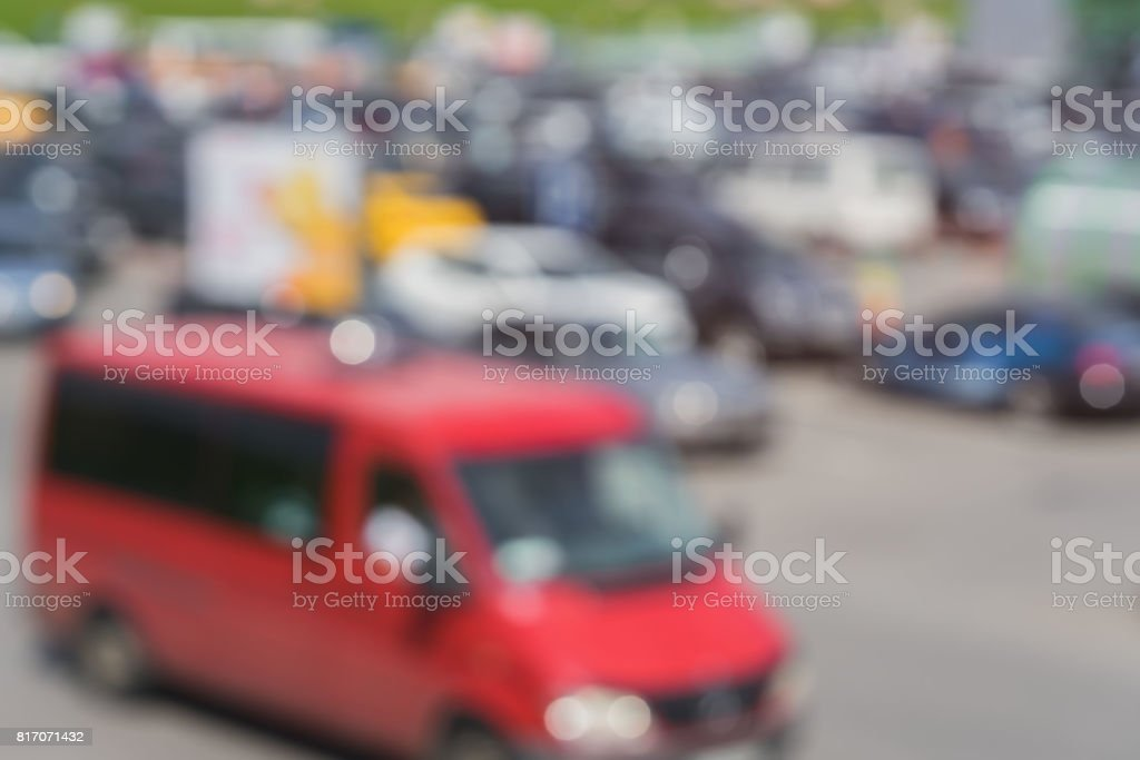 Abstract blurred outdoor parking, sales retail, season sales, sunny summer day, for background stock photo