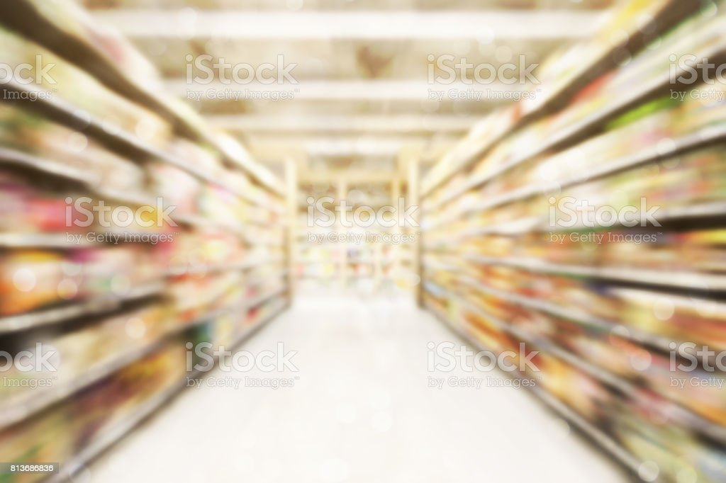 Abstract blurred photo of store in department store bokeh background stock photo