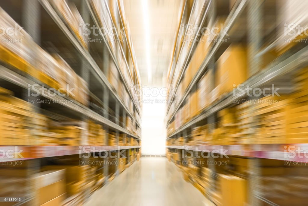 Abstract blurred photo of store in department store, Empty supermarket aisle stock photo
