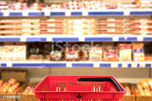 istock Abstract blurred photo of store with basket in department store bokeh background. business concept. 1143698147