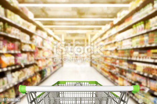 istock Abstract blurred photo of store with trolley in department store bokeh background 813686180