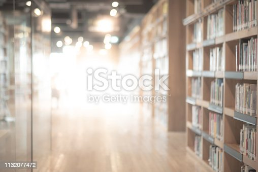 istock Abstract blurred public library interior space. blurry room with bookshelves by defocused effect. use for background or backdrop in business or education concepts 1132077472