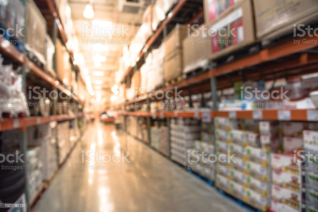 Abstract Blurred Shelves In Modern Distribution Warehouse Wholesale