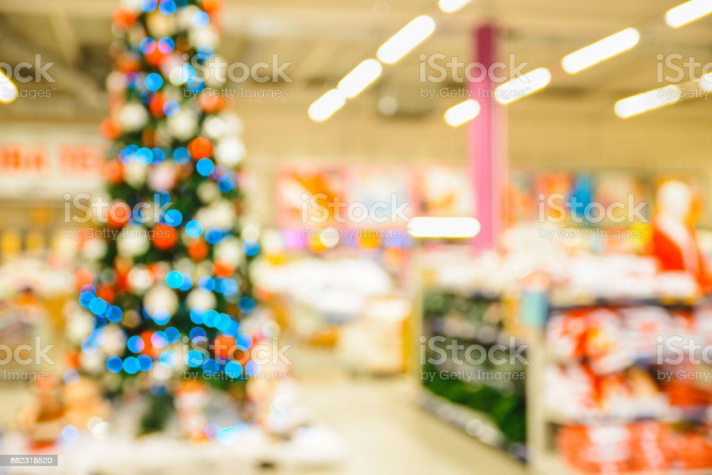 abstract blurred shopping mall background with christmas decorations royalty free stock photo - Mall Christmas Decorations