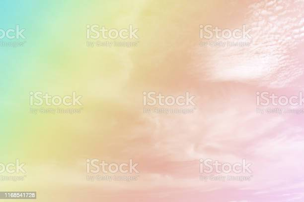 Photo of Abstract blurred soft cloud background with a pastel multicolored gradient. For card design or wallpaper.