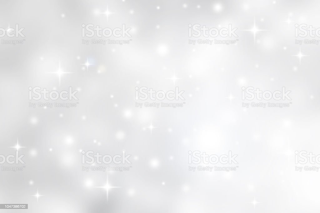 Abstract blurred soft white and gray silver beautiful glowing blinking bokeh and snowfall and star on colorful background for merry christmas and happy new year design banner  and presentation concept - Zbiór zdjęć royalty-free (Abstrakcja)