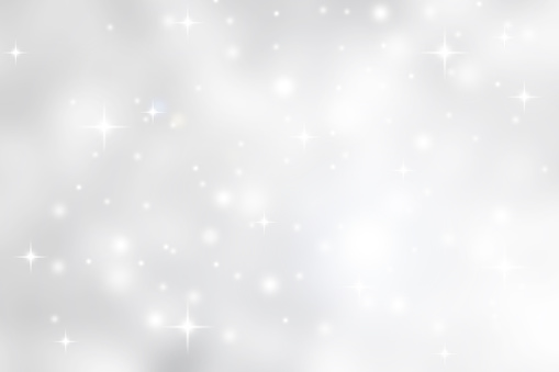 Abstract blurred soft white and gray silver beautiful glowing blinking bokeh and snowfall and star on colorful background for merry christmas and happy new year design banner  and presentation concept