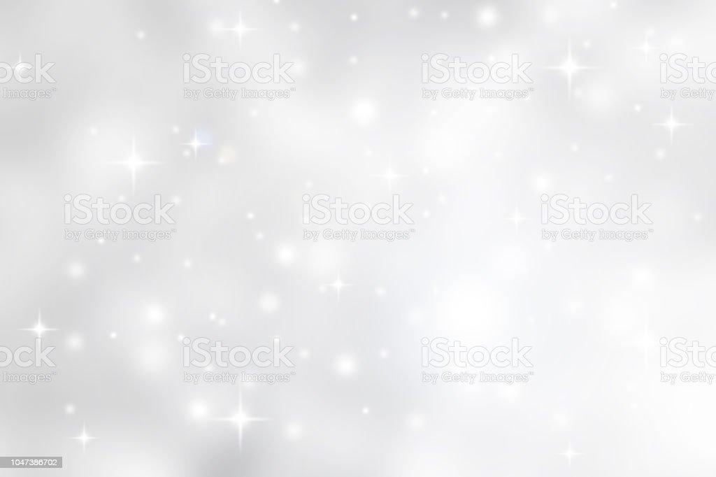 흐리게 부드러운 흰색과 회색은 아름 다운 빛나는 깜박이 bokeh와 폭설 스타 화려한 배경에서 메리 크리스마스와 새 해 복 많이 받으세요 디자인 배너 및 프레 젠 테이 션 개념에 대 한 추상화 스톡 사진