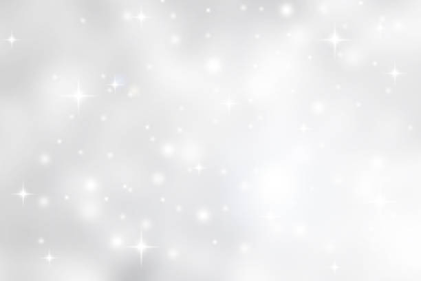 abstract blurred soft white and gray silver beautiful glowing blinking bokeh and snowfall and star on colorful background for merry christmas and happy new year design banner  and presentation concept - scintillante foto e immagini stock