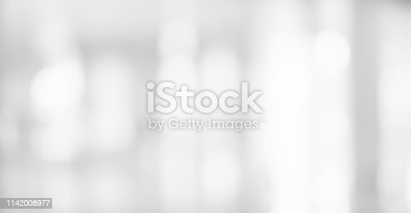 istock Abstract blurred soft white silver beautiful of electronic lamp light interior room background for design banner  and presentation concept 1142008977
