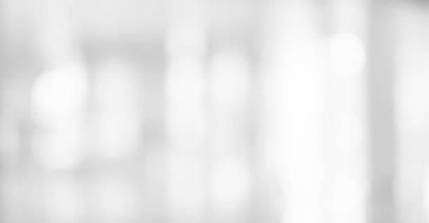 抽象模糊軟白色銀色美麗的電子燈燈室內的背景設計橫幅和演示的概念 - 明亮 個照片及圖片檔
