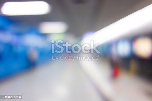 istock Abstract blurred subway platform background 1168214320