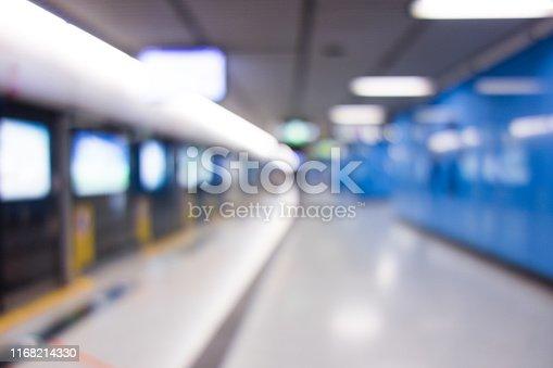 istock Abstract blurred subway platform background 1168214330