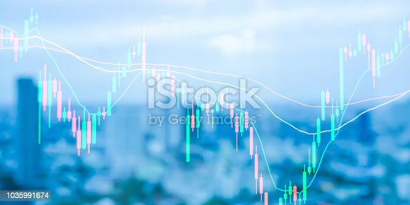 istock Abstract blurred sunset city double exposure of stock graph market exchange data board with light and soft color gradient background concept. 1035991674
