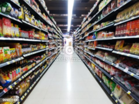 istock abstract blurred supermarket aisle with colorful goods on shelves with blurry customer at cashier for background 999022490