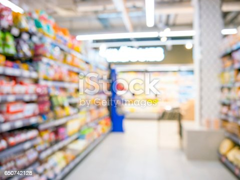 968898244 istock photo Abstract blurred supermarket aisle with colorful shelves and unrecognizable customers as background 650742128