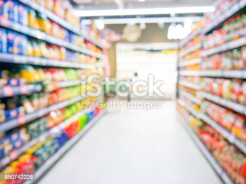 968898244 istock photo Abstract blurred supermarket aisle with colorful shelves and unrecognizable customers as background 650742226