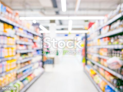 968898244 istock photo Abstract blurred supermarket aisle with colorful shelves and unrecognizable customers as background 650742298
