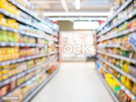 968898244 istock photo Abstract blurred supermarket aisle with colorful shelves and unrecognizable customers as background 650742686