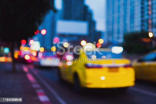 Abstract blurred traffic jam at intersection in Bangkok, Thailand using as transportation concept