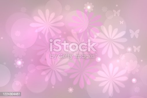 Abstract blurred vivid spring summer light delicate pink bokeh background texture with bright soft color circles and butterflies and blossoms. Card concept. Beautiful backdrop illustration.
