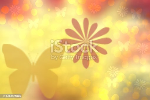 Abstract blurred vivid spring summer light delicate yellow pink yellow bokeh background texture with bright soft color circles and butterflies and blossoms. Card concept. Beautiful backdrop illustration.