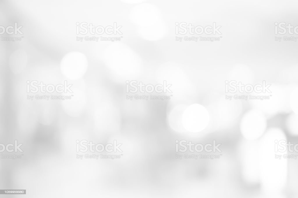 Abstract Blurred White Color Background With Bokeh Light For