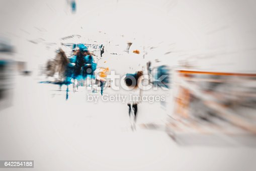 istock Abstract blurred young women with bag in the city. Modern lifestyle, shopping. Copy space ready for your design 642254188