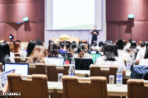 879125330 istock photo Abstract blurry background of employees seminar and De-focus teamwork staffs working meeting in conference room with projector screen. 1176444571