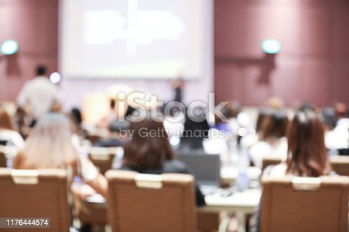 879125330 istock photo Abstract blurry background of employees seminar and De-focus teamwork staffs working meeting in conference room with projector screen. 1176444574