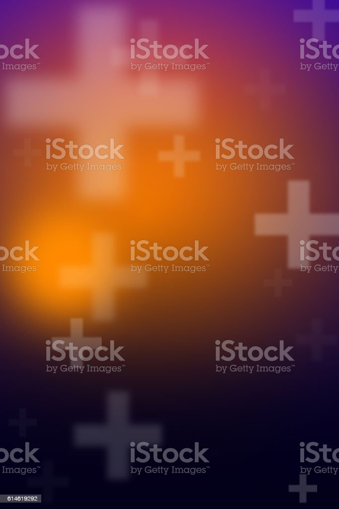 Abstract blurry background with cross sign stock photo