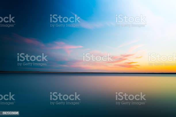 Photo of Abstract blurry dramatic Sunset in Long Exposure for background