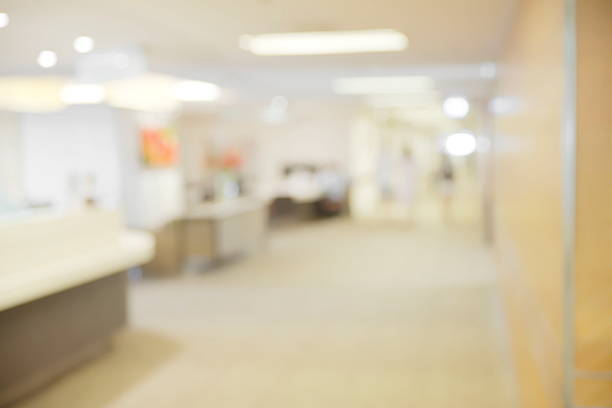 Abstract blurry hospital hall way stock photo