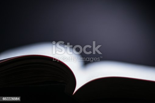 istock Abstract blurry open book on a dark background. 652226584