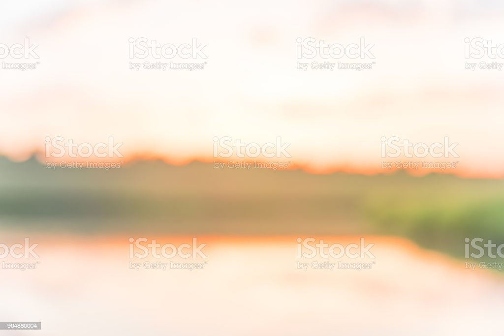 Abstract blurry sunrise at the lakeside park in Texas, USA royalty-free stock photo