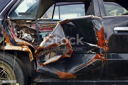 istock Abstract Body surface of old crash car and Rust. 580102610
