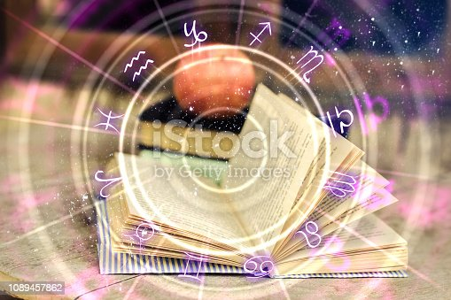 istock Abstract book with zodiac wheel 1089457862