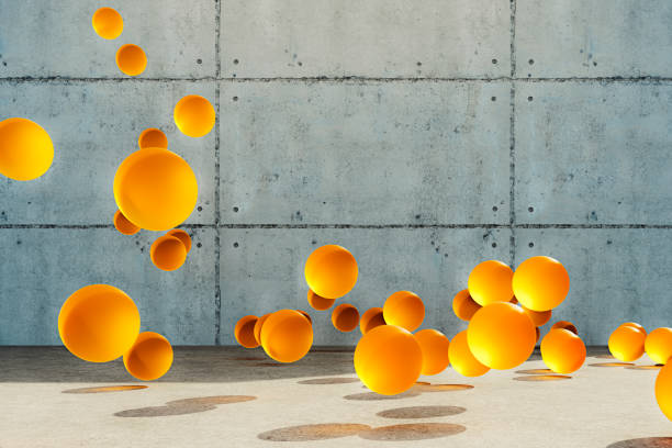 Abstract bouncing spheres stock photo