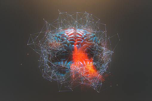 Abstract brain activity image. 3D generated image.