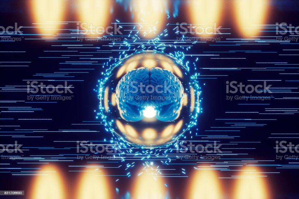 Abstract brain image with flying particles stock photo