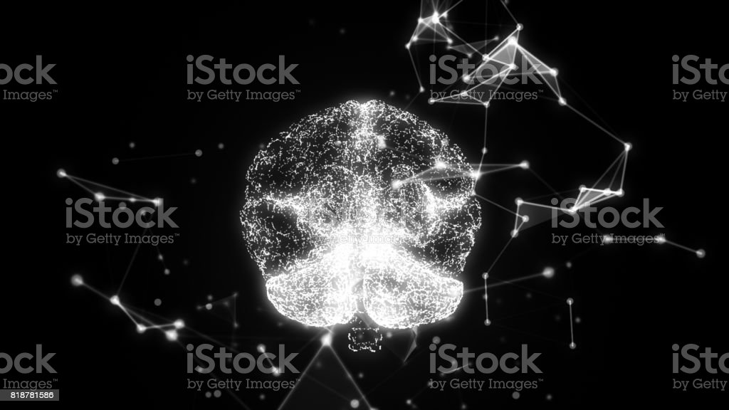 Abstract brain. Network connection on black background. 3D illustration stock photo