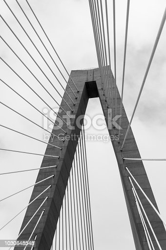 black and white photo of bridge