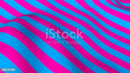 istock Abstract bright background with waving of colorful stripes, 3d rendering 929167350