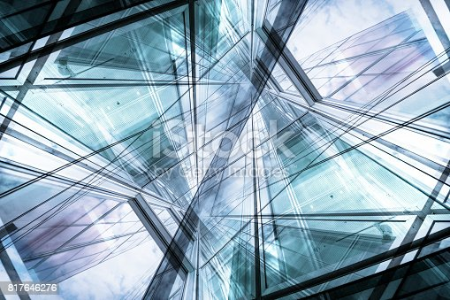istock Abstract bright future, finance buildings seen from below 817646276