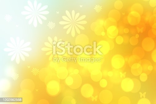 Abstract bright spring or summer landscape texture with natural bright bokeh lights and yellow circular lights with sunshine, blossoms and butterflies. Beautiful autumn background with copy space.